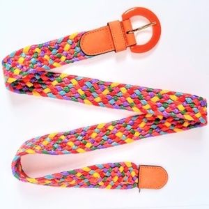 1970's Vintage Leather Woven Straw Colorful Belt